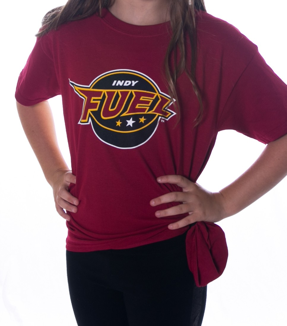 Youth Indy Fuel Logo T-Shirt (Crimson, Front)