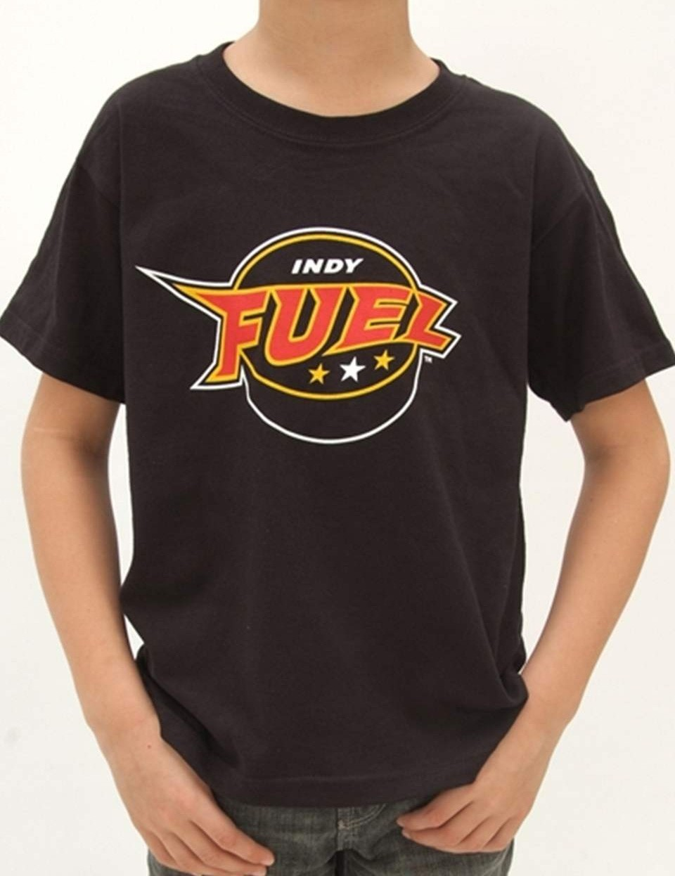 Youth Indy Fuel Logo T-Shirt (Black, Front)